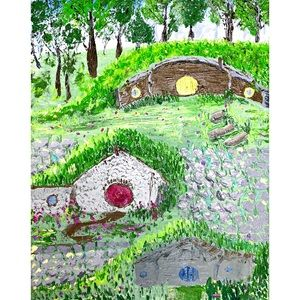 hobbits houses oil painting Wall art green forest